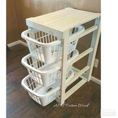 Laundry basket holder. Distressed wood laundry basket holder. Laundry basket storage. Laundry room decor. Free shipping.