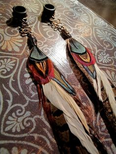 Feather Plugs 00g (10mm) - Custom Plugs or Tunnels with Wire Wrapped Feathers - Tribal Gauged Dangle Earring Jewelry - MADE TO ORDER