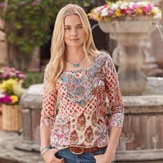 """pretty  PERSONAL JOURNEY TOP--Our worldly, mixed-print 'Personal Journey' top is fitted and super soft, with scoop neck and embroidered, raw-edge appliqué. Long sleeves. Cotton/modal. Hand wash. Imported. Exclusive. Sizes XS (2), S (4 to 6), M (8 to 10), L (12 to 14), XL (16). Approx. 25""""L."""