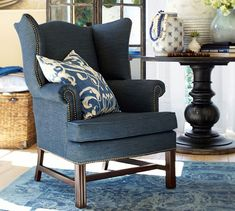 Thatcher Upholstered Wingback Chair | Pottery Barn $799, NAVY TWILL, CATCH THESE WHEN THEY HAVE %15OFF OR COUPON.