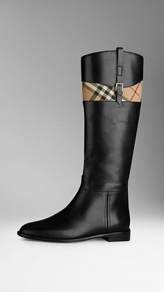 Horseferry Check Detail Riding Boots | Burberry