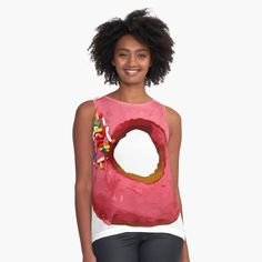 """""""Strawberry with Sprinkles Pink Donut Lover Tasty, Delicious, Sweet Dessert Food for Birthdays, Party and Snacks"""" Contrast Tank by Maricrism 