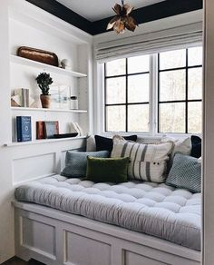 Ideas to Decorate Small Living Room Apartment on a Budget 2018 Painting ideas for walls Living room decor on a budget Home decor ideas Library room Family room ideas Decorating ideas for the home Friendly Window Benches, Window Seat Cushions, Window Seat Storage, Bench Cushions, Pillows, Bedroom Windows, Bay Windows, Window Seats Bedroom, Corner Window Seats