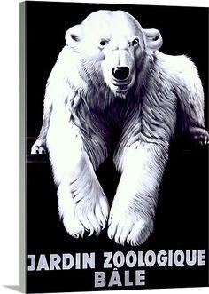 Jardin Zoologique, Bale, Polar Bear,Vintage Poster