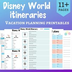 Walt Disney World Parks printables - daily itinerary, weekly itinerary, pocket planner Includes 10 different styles of itineraries so you can find the one that works for you! Want to stay organized on your next trip to Disney World? Keep all your info together with these Disney itineraries! Ten