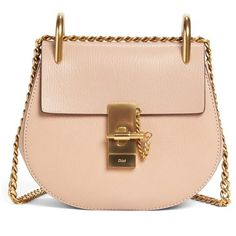 Women's Chloe Mini Drew Leather Shoulder Bag (€1.555) ❤ liked on Polyvore featuring bags, handbags, shoulder bags, biscotti beige, beige shoulder bag, pink handbags, leather handbags, pink leather handbags and mini purse