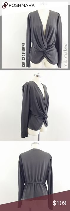 """CHELSEA FLOWER • grey twist front silk blouse • gorgeous greyish brownish blouse from designer Chelsea Flower • lightweight crepe like fabric • twist front detail • long sleeves with cuff and cube buttons • deep v-neck • excellent used condition  100% silk Dry clean only  ✂️  Bust = 44"""" ✂️  Waist = 34"""" ✂️  Shoulder = 12.5"""" ✂️  Length = 24""""  • sorry no trades • please feel free to ask any questions  ❤️,  @mikimakes  053017.5.109 Chelsea Flower Tops Blouses"""