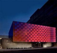 WHYY Public Media building in Philadelphia (KSS Architects), illuminates translucent 3-Form panels with colored LED lights