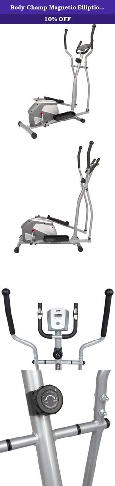 Body Champ Magnetic Elliptical Trainer, Gray/Silver. Overcome any hurdles in the way of your pursuit to fitness with this patented Body Champ magnetic Elliptical Trainer. This space-saving and economic machine is the solid solution to fit both your space and your budget. Experience smooth and effective pedaling with the dual-motion platforms that allow both forward and reverse pedaling. The embossed dot-matrix pedals prevent slippage during exercise, and the two (2) sets of handlebars…