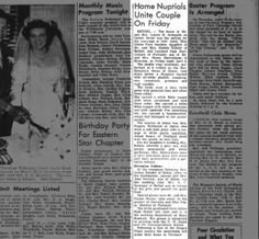 wedding for Gloria Faye Sanders, dau of Harlow Kibbey and wife (step-dau?)