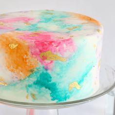 Watercolor Gold Leaf Cake Kit by SPRINKLE BAKES | Brit + Co. Shop | DIY Online…