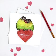 Hey you pretty birds  Valentine is coming!  I always love to get and give a card no matter what occasion is. Its a nice way to show someone how much it means to you.  This are my love birds and you can find a card in my #Etsy shop. Link is in my profile