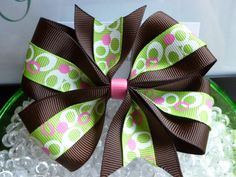 Girls Medium Hair Bow Brown and Green printed 4 Loop by krapflgirl, $4.50