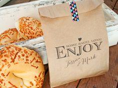 Large Kraft Wedding Favor Bags  Enjoy  Custom Bagel Bag  by mavora