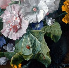~ Jan van Huysum - Hollyhocks and Other Flowers in a Vase (detail)