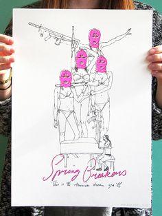 Made by Marianne Lock / Movieposter / Spring Breakers / Film / Poster / FOR SALE  #movieposter #alternativemovieposter #film #cinema #filmposter #illustratedmovieposter #illustration #illustrator #illustrated #handmade #springbreakers #harmonykorine Spring Breakers Film, Harmony Korine, Django Unchained, Alternative Movie Posters, Doodle Sketch, Sale Poster, Art Sketches, Doodles, Illustration