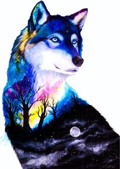 Night guardian- signed Art Print - Coole Bilder ( unsortiert ) - Choose your size - Cute Animal Drawings, Cute Drawings, Horse Drawings, Fantasy Wolf, Fantasy Art, Wolf Spirit Animal, Spirit Animal Tattoo, Wolf Artwork, Wolf Painting