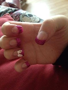 Pink Glitter Tips & 3D Butterfly Nail Art
