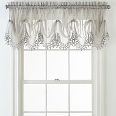 Liz Claiborne Home Expressions Lisette Sheer Macram Tuck Valance Small Window Curtains, Swag Curtains, Kitchen Window Curtains, Curtain Valances, Curtains Living, Drapery, Shabby Chic Lamps, Shabby Chic Bedrooms, Bedroom Vintage
