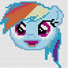 Rainbow Dash Face Perler Bead Pattern | Bead Sprites | Characters Fuse Bead Patterns