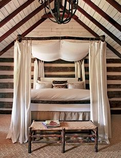 """From the """"Tale of Toad Hall"""" Architectural Digest article June 2009.  Not necessarily a fan of the bed hangings, but what a beautiful bed.   Looks like you would sink into this bed and never want to leave."""