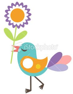 Cute bird with a flower Royalty Free Stock Vector Art Illustration