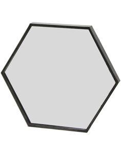 MirrorDeco — Zen - Hexagonal Wall Mirror (Black Metal Frame, W: Mirror With Hooks, Black Wall Mirror, Metal Mirror, Zen, Modern Industrial, Bathroom Inspiration, White Walls, Black Metal, Toilet