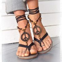 PEACE sign BAREFOOT sandals Black and Gold Gypsy Sandals