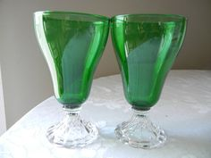 Vintage Glassware 1950s Dark Green Drinking by EarthsTrove on Etsy, $14.99