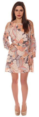 Alison Multicoloured Beige Peach Chiffon Style Cut Out Cold Shoulder Belted Shift Dress