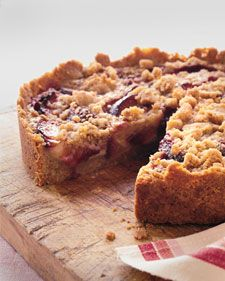 Raspberry-Plum Crumb Tart. You'll need a springform pan for this recipe. It is also important to use firm plums; soft ones will prevent the custard filling from setting properly.
