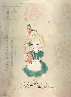 Flamingo and Alice Girl love  PRINT 6x8 INCHES by holli on Etsy, $10.00