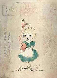 Paola Zakimi - Flamingo and Alice Girl love,  PRINT, 6x8 INCHES