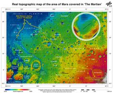 Real topographic map of the area of Mars covered in 'The Martian.' Follow the path of Mark Watney's fictional endeavors from the Ares 3 landing site at Acidalia Planitia to NASA's real Mars Pathfinder lander at the mouths of Ares Vallis and Tiu Valles and back, and finally to the Ares 4 landing site at Schiaparelli Crater. Credit: DLR/ESA/NASA