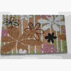 Modern Daisies Multicolor Coir Doormat (Multi)