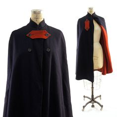 60s Incredible Wool Cape in Navy with Red Lining by nickiefrye, $82.00