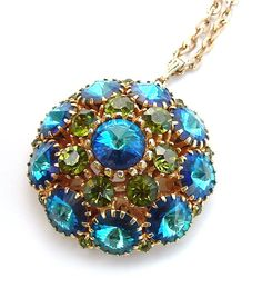 Vintage Jewelry Rhinestone Necklace Pendant Turquoise Blue Chartreuse Olive Green Cerulean Sea