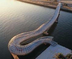 Webb Bridge, Melbourne, Australia - Denton Corker Marshall (2004) ~ Pedestrian bridge crossing the Yarra River.