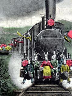 Weird Easter RABBITS Ride Outside of TRAIN.. EASTER Postcard. Vintage Easter Illustration. Easter Digital Download. Vintage Easter Print.