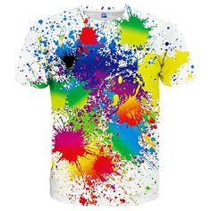 5502515b80ec Syaimn Mens 3D Pattern Print Short Sleeve T-Shirts Casual Graphics Tees  colour spash