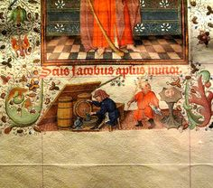 The wine cellar:  from the Hours of Katherina van Kleef (Catherine of Cleves, c. 1440), a late medieval manuscript from the Northern Netherlands.  Daily life in the Middle Ages pops up in the margins of the manuscript. __ posted by YIP2 on Flickr