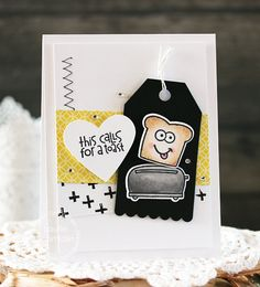 This Calls for a Toast card by Laurie Schmidlin for Paper Smooches - Wake Up stamps and dies, Tag scallop