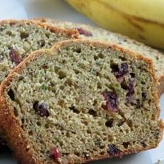 """""""A combination of two favorites: banana nut bread and zucchini bread. The flavors combine and in each bite you get just a hint of both flavors. Zucchini Banana Bread, Zucchini Bread Recipes, Banana Nut Bread, Banana Bread Recipes, Zucchini Squash, Flax Seed Recipes, Sweet Bread, Us Foods, Dessert Recipes"""