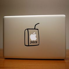 Juice Box 2 Pack by Ryan Orlick These adorable decals are a nod to brown bag lunches. Make your apple juice by putting this decal on your MacBook or iPad. They're made from technology safe vinyl that applies easily and comes off cleanly. The set includes a decal in white and one in black.