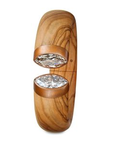 Hemmerle bangle in olive wood, copper white gold and white and brown diamonds.....this is so unique!