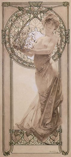 Alphonse Mucha, 1860-1939, Czech, Woman Holding Mistletoe, 1902. Ink drawing and white highlights on paper; 46 x 33 cm. Mucha Museum, Prague. Art Nouveau.