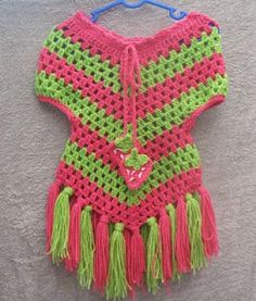 Cats-Rockin-Crochet, Free Crochet and Knit Patterns: Cute Little Stay On Poncho ~W~