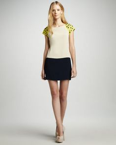 Trina Turk Midtown Stud-Shoulder Colorblock Dress at CUSP.