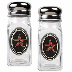 MLB Houston Astros Salt and Pepper Shaker Set with Crystal Coat by Great American Products. $19.99. An absolute essential for tailgating, the kitchen, picnicking or a back yard BBQ.. This salt & pepper shaker set is constructed of heavy-duty square glass and stainless steel screw-on tops.