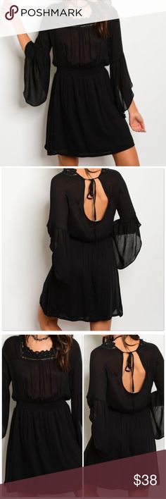 Black Long bell sleeve smock waist tunic dress Black Long bell sleeve smock waist tunic dress  Fabric Content: 100% RAYON Size S-M-L   New Arrival   Brand New From My Boutique Dresses